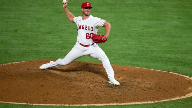 Los Angeles Angels relief pitcher Mike Mayers (60) pitching against the Seattle Mariners at Angel Stadium. Mandatory Credit: Angels Baseball via USA TODAY Sports