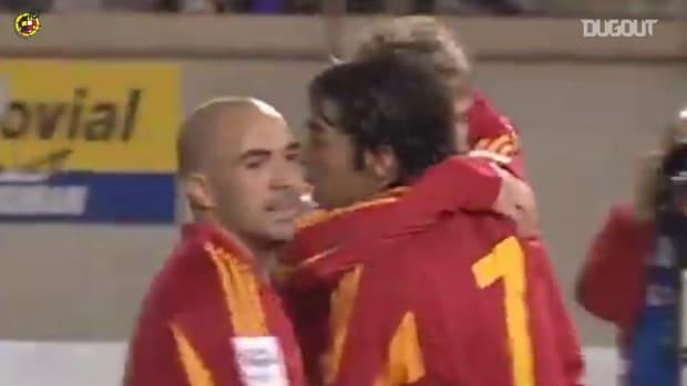 Fernando Torres's dummy before scoring for Spain