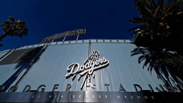Jul 5, 2020; Los Angeles, California, United States; View of the stadium club entrance to Dodger Stadium during summer camp workouts on July 5, 2020. Mandatory Credit: Jayne Kamin-Oncea-USA TODAY Sports