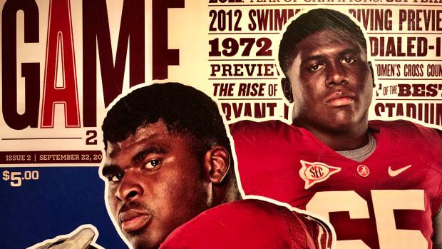 D.J. Fluker, Chance Warmack, Florida Atlantic game cover, Sept. 22, 2012