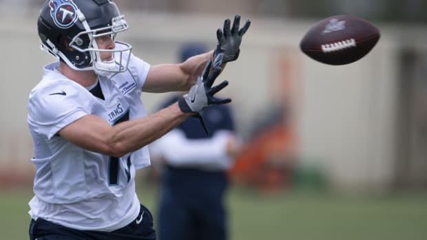 Tennessee Titans wide receiver Adam Humphries (10) pulls in a catch during a training camp practice at Saint Thomas Sports Park Friday, Aug. 14, 2020 in Nashville, Tenn.