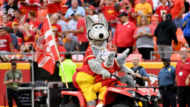 Aug 24, 2019; Kansas City, MO, USA; Kansas City Chiefs mascot KC Wolf and KC Wolf JR ride a four-wheeler on field during the game against the San Francisco 49ers at Arrowhead Stadium. Mandatory Credit: Denny Medley-USA TODAY Sports