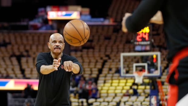 Feb 20, 2020; San Francisco, California, USA; Houston Rockets assistant coach John Lucas passes the ball on the court before the game against the Golden State Warriors at Chase Center. Mandatory Credit: Darren Yamashita-USA TODAY Sports