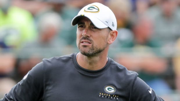 Head coach Matt LaFleur during Green Bay Packers training camp at Ray Nitschke Field