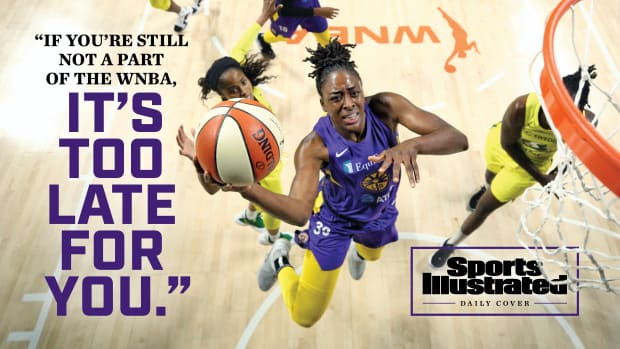 Nneka Ogwumike in midair with the words If you're still not a part of the WNBA, it's too late for you