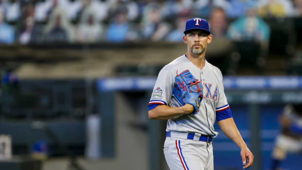 Aug 23, 2020; Seattle, Washington, USA; Texas Rangers starting pitcher Mike Minor (23) walks to the dugout following the sixth inning against the Seattle Mariners at T-Mobile Park. Mandatory Credit: Joe Nicholson-USA TODAY Sports