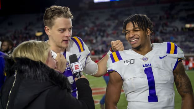 Nov 16, 2019; Oxford, MS, USA; ESPN talks with Louisiana State Tigers quarterback Joe Burrow (9) and wide receiver Ja'Marr Chase (1) after the game against the Mississippi Rebels at Vaught-Hemingway Stadium. Mandatory Credit: Vasha Hunt-USA TODAY Sports