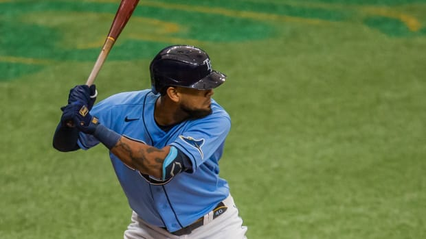 Tampa Bay Rays first baseman Jose Martinez (40) bats during the fifth inning of a game against the Toronto Blue Jays at Tropicana Field.