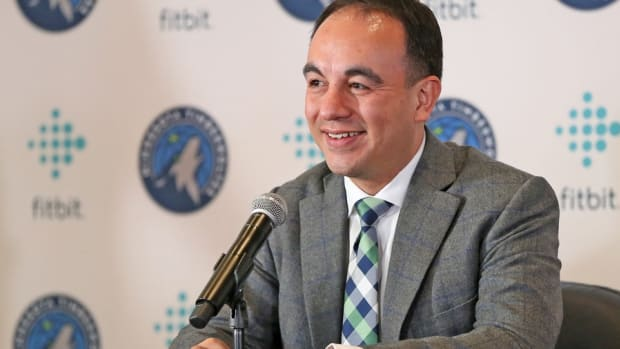 Minnesota Timberwolves president of basketball operations Gersson Rosas answers questions during a press conference in Minneapolis.