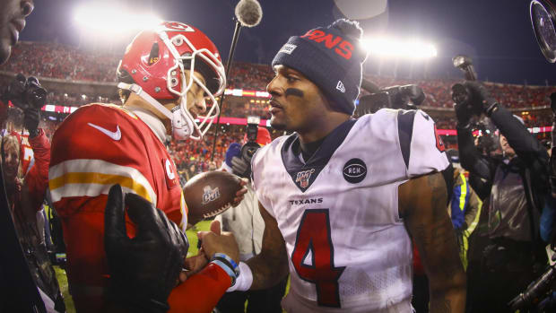 Jan 12, 2020; Kansas City, MO, USA; Kansas City Chiefs quarterback Patrick Mahomes (15) hugs Houston Texans quarterback Deshaun Watson (4) after the game between the Chiefs and the Texans in a AFC Divisional Round playoff football game at Arrowhead Stadium. Mandatory Credit: Jay Biggerstaff-USA TODAY Sports