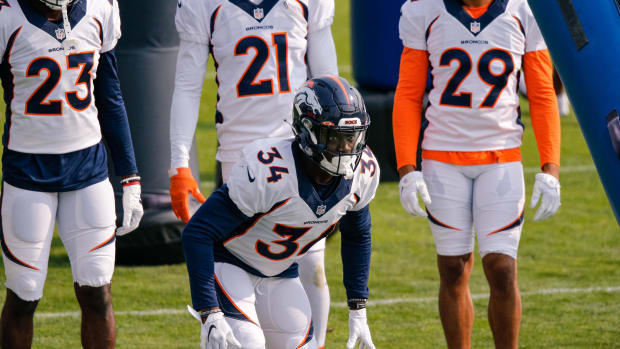 Denver Broncos cornerback Essang Bassey (34) during training camp at the UCHealth Training Center.