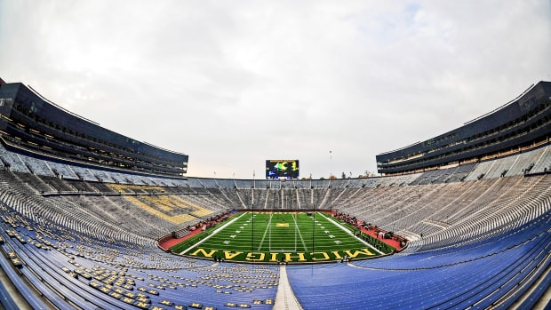 Michigan Stadium sits empty