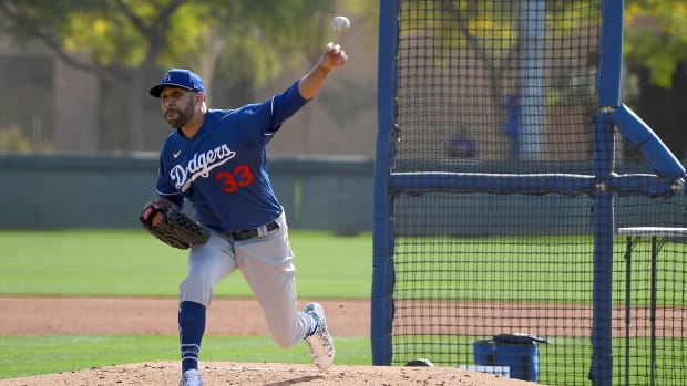 Feb 21, 2020; Glendale, Arizona, USA; Los Angeles Dodgers starting pitcher David Price (33) throws live batting practice during spring training at Camelback Ranch. Mandatory Credit: Jayne Kamin-Oncea-USA TODAY Sports