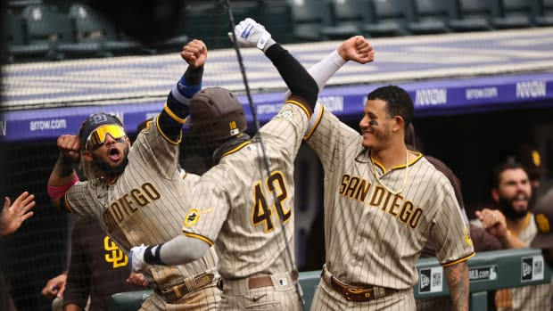 Three Padres celebrate