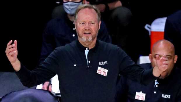Milwaukee Bucks head coach Mike Budenholzer reacts during the first quarter against the Miami Heat in game three of the second round of the 2020 NBA Playoffs at ESPN Wide World of Sports Complex.