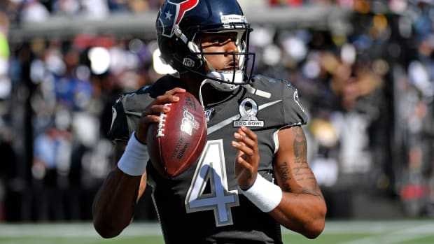 Jan 26, 2020; Orlando, Florida, USA; AFC quarterback Deshaun Watson of the Houston Texans (4) warms up before a game against the NFC in the 2020 NFL Pro Bowl at Camping World Stadium. Mandatory Credit: Steve Mitchell-USA TODAY Sports