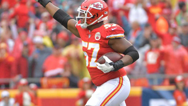Oct 7, 2018; Kansas City, MO, USA; Kansas City Chiefs linebacker Breeland Speaks (57) points to the crowd after a turnover during the game against the Jacksonville Jaguars at Arrowhead Stadium. Mandatory Credit: Denny Medley-USA TODAY Sports