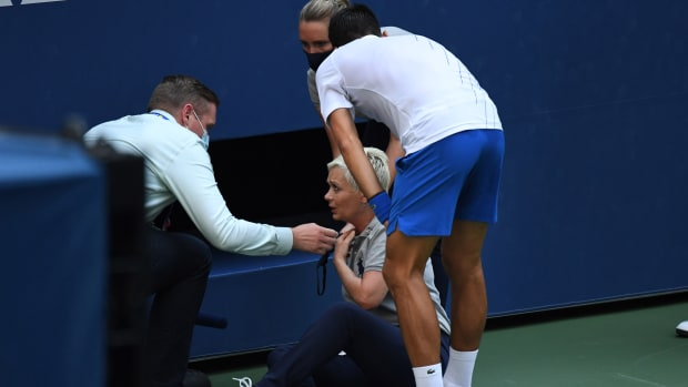 Novak Djokovic was defaulted from the US Open after hitting a line judge with a ball.