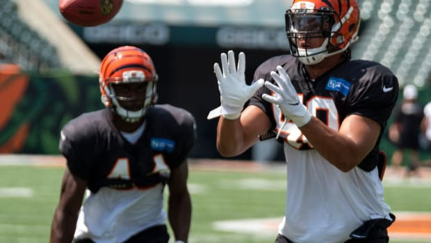 Bengals linebacker Jordan Evans (50) performs a drill at Bengals training camp on Thursday, August 8, 2019 inside of Paul Brown Stadium 20190808 Bengalstrainingcamp0302