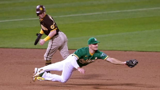 Matt Chapman came up limping after this Sept. 6 play, didn't play again and is rehabbing from hip surgery.