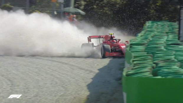 Screenshot from video of Charles LeClerc crash at Monza
