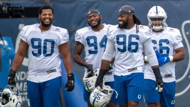 Members of the Indianapolis Colts defensive line assemble for a recent practice.