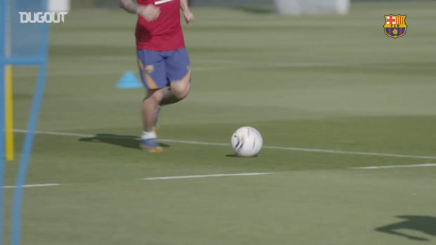 Leo Messi back to Barcelona training