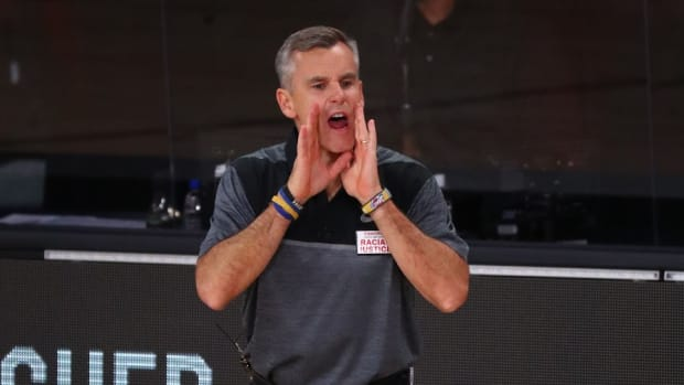 Oklahoma City Thunder head coach Billy Donovan during the second quarter in game six of the first round of the 2020 NBA Playoffs against the Houston Rockets at ESPN Wide World of Sports Complex.