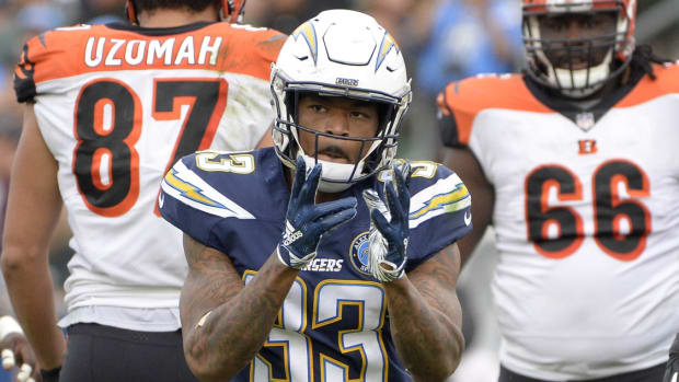 Dec 9, 2018; Carson, CA, USA; Los Angeles Chargers free safety Derwin James (33) reacts after a defensive play during the third quarter against the Cincinnati Bengals at StubHub Center. Mandatory Credit: Jake Roth-USA TODAY Sports