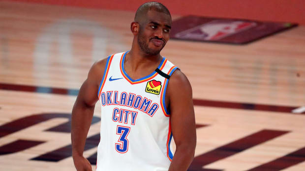 Oklahoma City Thunder guard Chris Paul reacts during the second half in game four of the first round of the 2020 NBA Playoffs