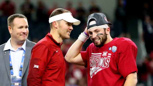 Lincoln Riley - Baker Mayfield smile