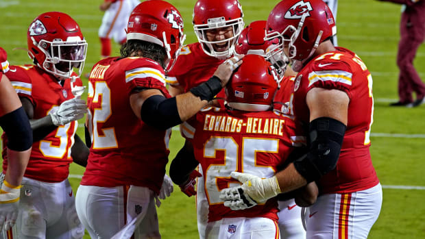 Sep 10, 2020; Kansas City, Missouri, USA; Kansas City Chiefs running back Clyde Edwards-Helaire (25) celebrates scoring a touchdown during the second half against the Houston Texans at Arrowhead Stadium. Mandatory Credit: Denny Medley-USA TODAY Sports