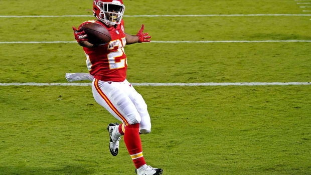 Sep 10, 2020; Kansas City, Missouri, USA; Kansas City Chiefs running back Clyde Edwards-Helaire (25) celebrate scoring a touchdown during the second half against the Houston Texans at Arrowhead Stadium. Mandatory Credit: Denny Medley-USA TODAY Sports