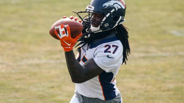 Denver Broncos cornerback Davontae Harris (27) during training camp at the UCHealth Training Center.