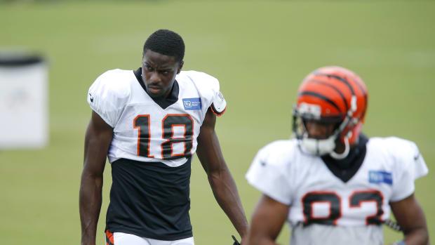 Aug 27, 2020; Cincinnati, Ohio, USA; Cincinnati Bengals wide receiver A.J. Green(18) during training camp at the teams practice facility. Mandatory Credit: Joseph Maiorana-USA TODAY Sports
