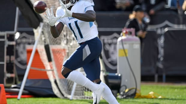Tennessee Titans wide receiver A.J. Brown (11) warms up before the game at Oakland-Alameda County Coliseum Sunday, Dec. 8, 2019 in Oakland , Ca.
