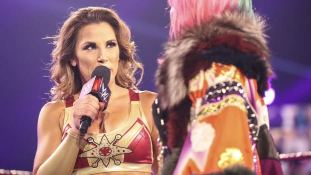 WWE's Mickie James on the microphone on Raw