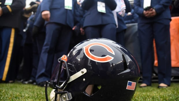 Nov 10, 2019; Chicago, IL, USA; A detailed view of the Chicago Bears helmet before the game against the Detroit Lions at Soldier Field.