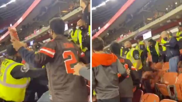 Screenshots from video of fight at Browns game