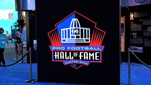 Jan 25, 2020; Miami, Florida, USA; A detail shot the Pro Football Hall of Fame sign during the Grand Opening of the NFL s Super Bowl Experience at the Miami Beach Convention Center. Mandatory Credit: Steve Mitchell-USA TODAY Sports