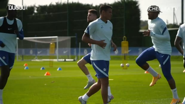 Thiago Silva trains with Chelsea team-mates for the first time