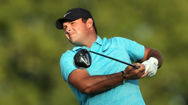 Patrick Reed plays his shot from the sixth tee during the second round of the U.S. Open golf tournament at Winged Foot Golf Club - West.