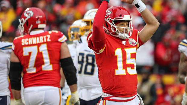 Dec 29, 2019; Kansas City, Missouri, USA; Kansas City Chiefs quarterback Patrick Mahomes (15) interacts with the crowd during the second half against the Los Angeles Chargers at Arrowhead Stadium. Mandatory Credit: Jay Biggerstaff-USA TODAY Sports