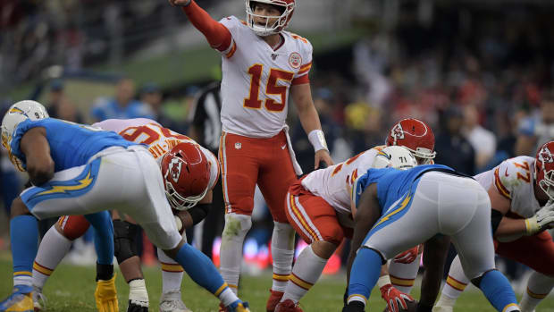 Nov 18, 2019; Mexico City, MEX; Kansas City Chiefs quarterback Patrick Mahomes (15) gestures in the second half against the Los Angeles Chargersduring an NFL International Series game at Estadio Azteca. The Chiefs defeated the Chargers 24-17. Mandatory Credit: Kirby Lee-USA TODAY Sports
