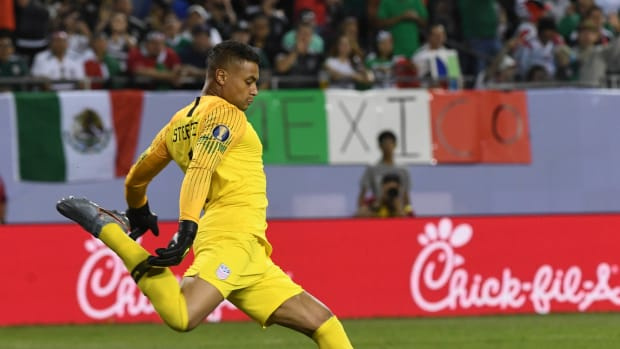 Jul 7, 2019; Chicago, IL, USA; United States goalkeeper Zack Steffen (1) kicks the ball against Mexico in the second half championship match of the CONCACAF Gold Cup soccer tournament at Soldier Field. Mandatory Credit: Mike DiNovo-USA TODAY Sports