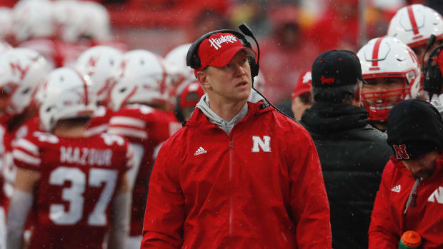 Nebraska Cornhuskers head coach Scott Frost watches during the game against the Iowa Hawkeyes in the first half at Memorial Stadium.