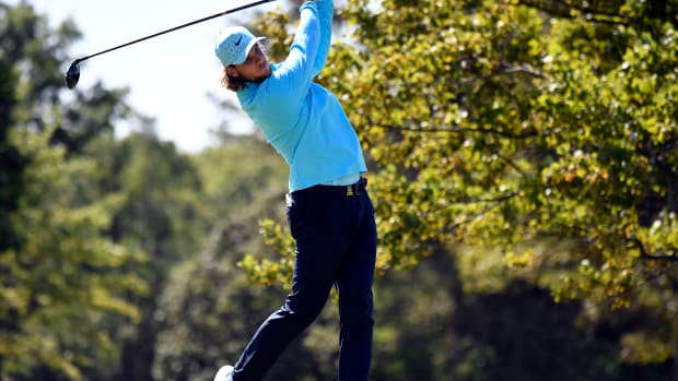 Thomas Pieters plays his shot from the second tee during the final round of the U.S. Open golf tournament at Winged Foot Golf Club - West.
