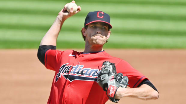 Cleveland Indians starting pitcher Shane Bieber (57) throws a pitch during the first inning against the Milwaukee Brewers at Progressive Field.