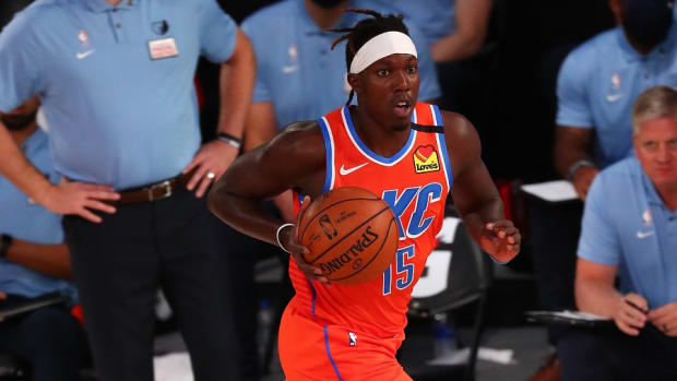 Former Oklahoma City Thunder forward Kevin Hervey moves the ball up court against the Memphis Grizzlies during the first half of an NBA game at Visa Athletic Center.