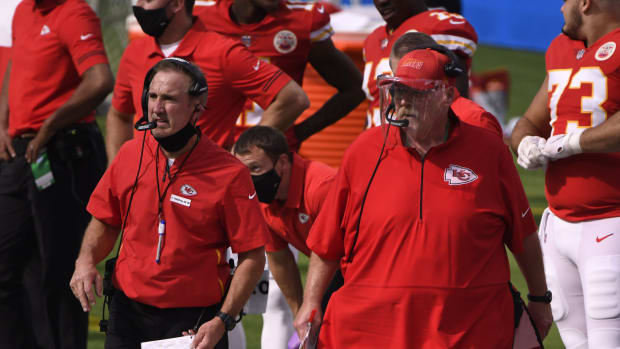 Sep 20, 2020; Inglewood, California, USA; Kansas City Chiefs head coach Andy Reid (right) with defensive coordinator Steve Spagnuolo (left) against the Los Angeles Chargers during the third quarter at SoFi Stadium. Mandatory Credit: Robert Hanashiro-USA TODAY Sports